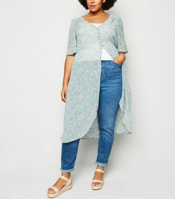 Curves Blue Floral Button Up Kimono