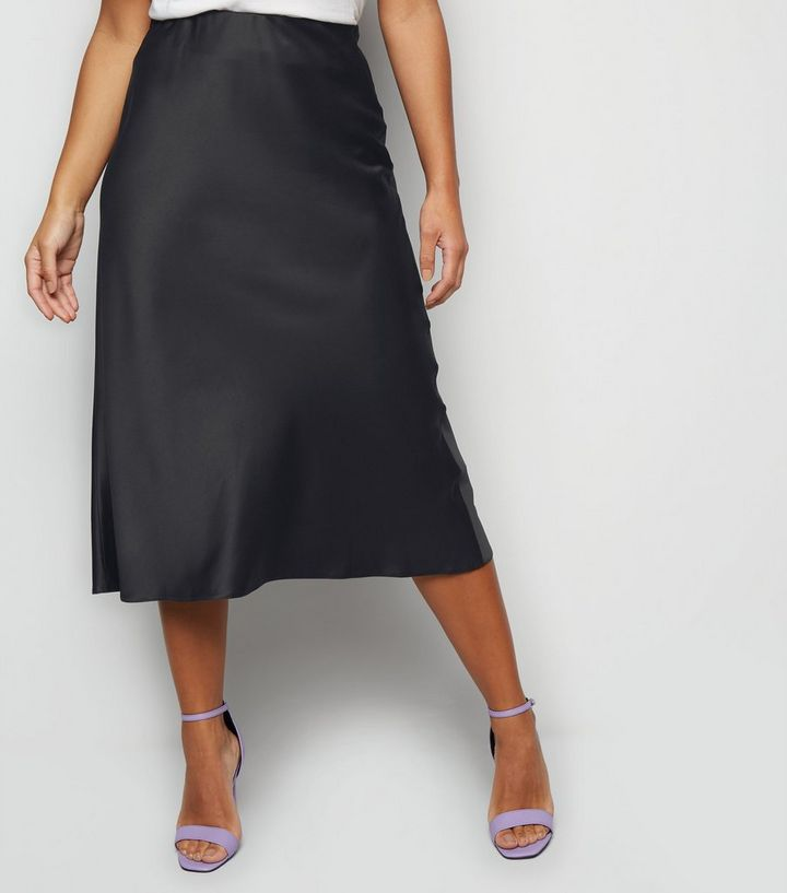 best quality for harmonious colors find lowest price Petite Black Satin Bias Cut Midi Skirt Add to Saved Items Remove from Saved  Items