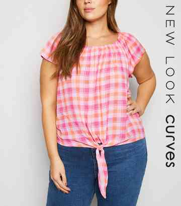 Curves Pink Check Tie Front Top