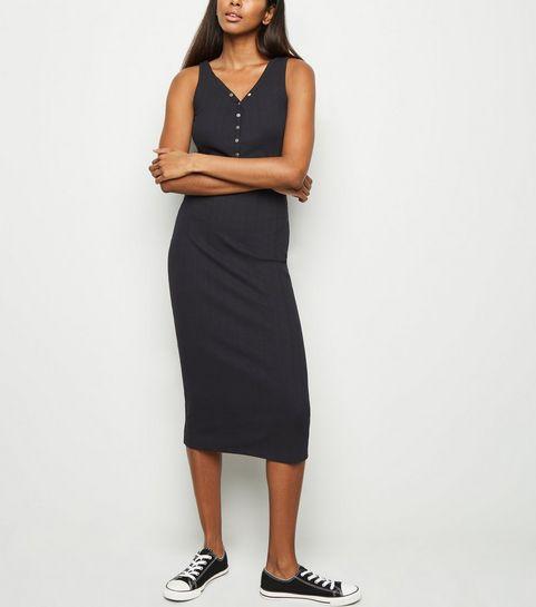 758e3dc762c5 ... Black Ribbed Popper Midi Bodycon Dress ...