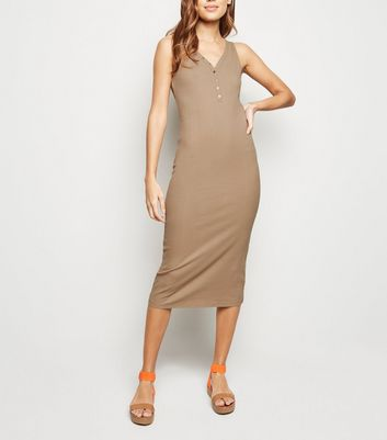Stone Ribbed Popper Midi Bodycon Dress