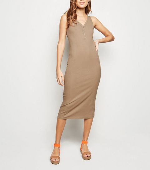 5670c53439ede ... Stone Ribbed Popper Midi Bodycon Dress ...