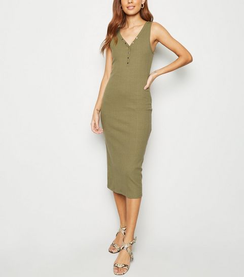 ... Khaki Ribbed Popper Midi Bodycon Dress ... 5e10af67e