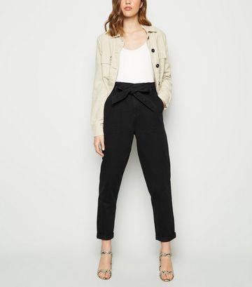 Black Paperbag Tapered Denim Trousers
