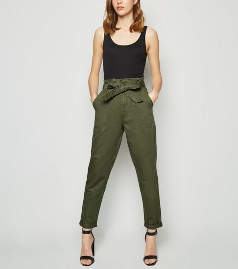 c7b2f9137b7 ... Khaki Paperbag Waist Tapered Denim Trousers ...