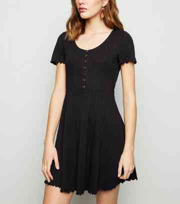 Black Ribbed Button Up Skater Dress