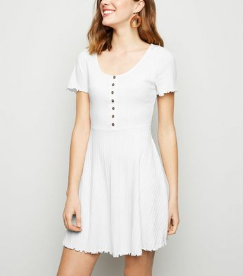 White Ribbed Button Up Skater Dress