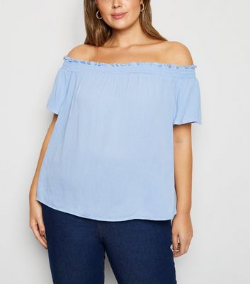 Curves Pale Blue Cheesecloth Bardot Top