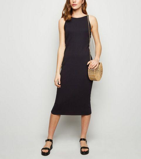 c250fe87b4e ... Black Ribbed Strappy Bodycon Midi Dress ...