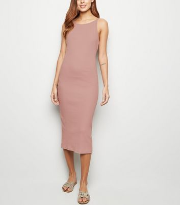 Pink Ribbed Strappy Bodycon Midi Dress