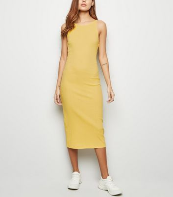 Pale Yellow Ribbed Strappy Bodycon Midi Dress