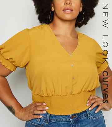 Curves Mustard Shirred Milkmaid Top
