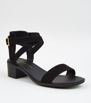 Wide Fit Black Suedette 2 Part Low Block Heels