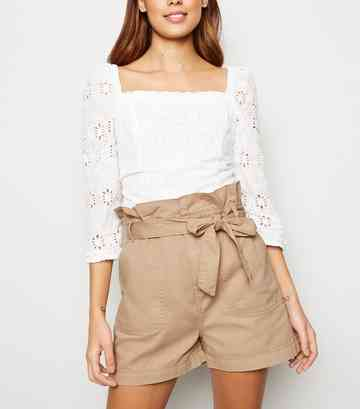Stone Paperbag Belted Denim Utility Shorts