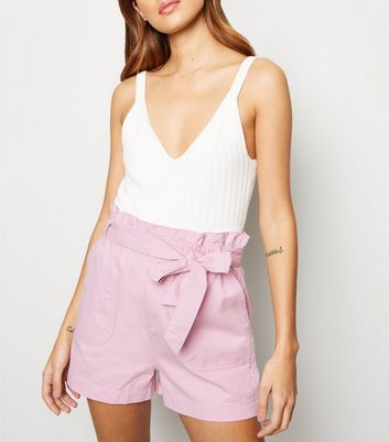 Pale Pink Paperbag Belted Utility Shorts