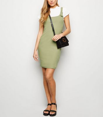 Khaki Buckle Ribbed Mini Dress
