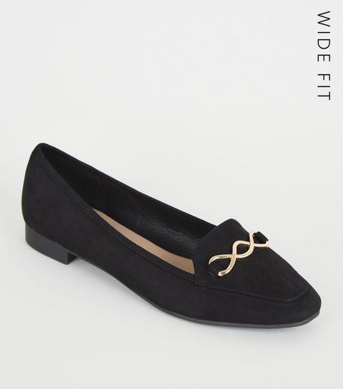 29c57f15889 ... Wide Fit Black Square Toe Loafer ...