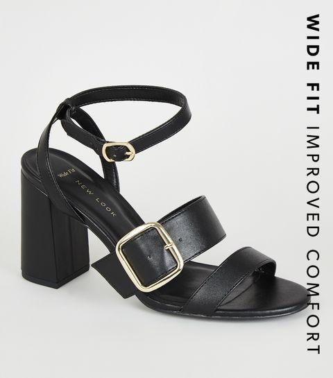 94310f3596c ... Wide Fit Black Snake Print Buckle Strap Heels ...