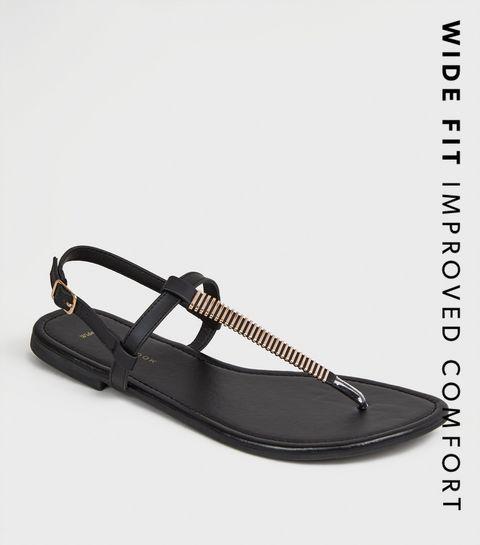 f4bcb6cc95 ... Wide Fit Black Bar Strap Flat Footbed Sandals ...