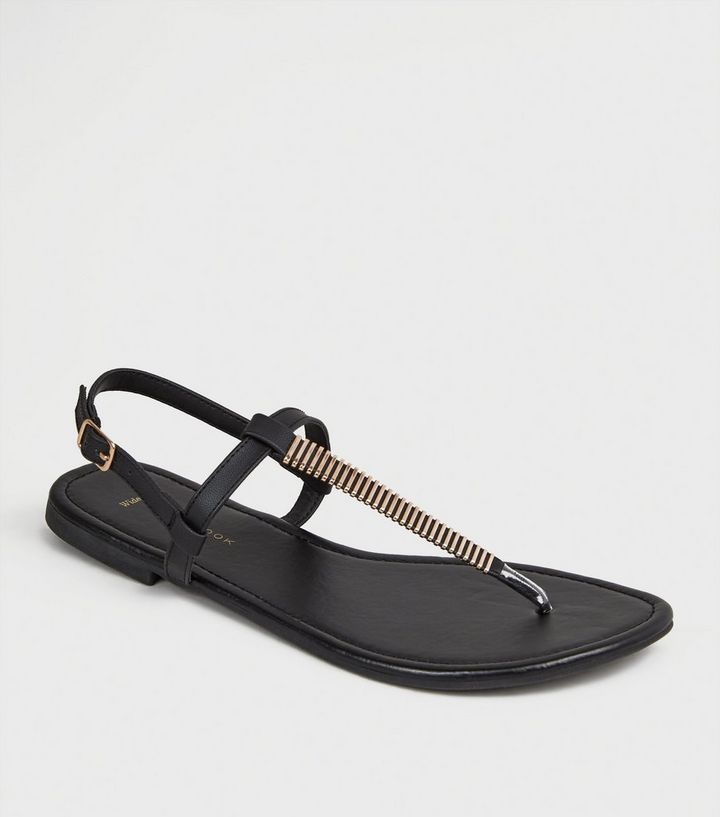 fd2ca8cf8 Wide Fit Black Bar Strap Flat Footbed Sandals
