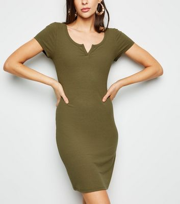 Khaki Notch Neck Jersey Mini Dress