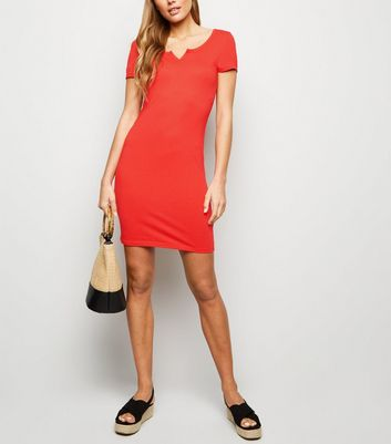 Red Notch Neck Jersey Mini Dress