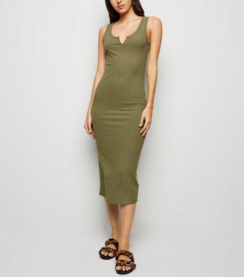 ... Khaki Notch Neck Jersey Midi Dress ... db6dcf8cf