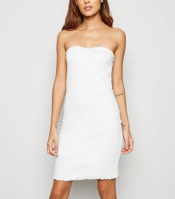 White Frill Trim Strapless Mini Dress