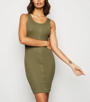 Khaki Ribbed Jersey Bodycon Mini Dress