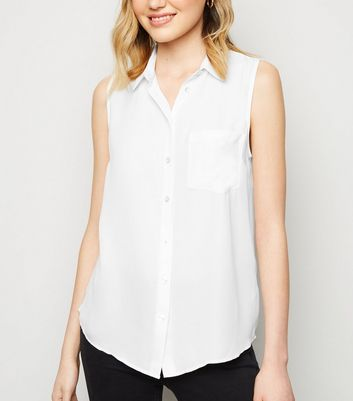Off White Crepe Sleeveless Shirt