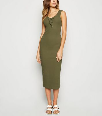 Khaki Ribbed Lace Up Midi Bodycon Dress