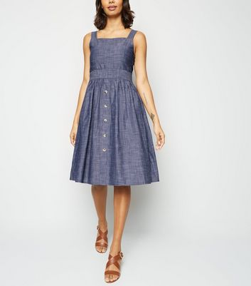 Blue Vanilla Blue Chambray Skater Dress