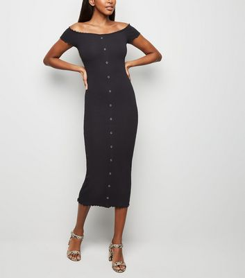 Black Frill Trim Bardot Midi Dress