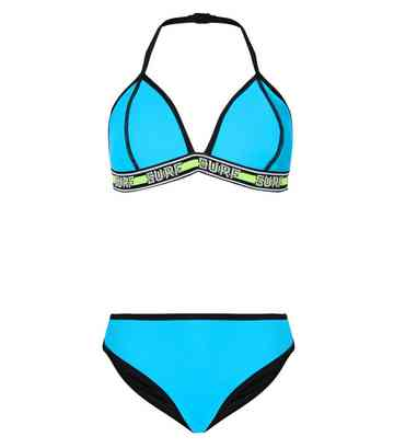 Girls Turquoise Neon Surf Tape Bikini Set