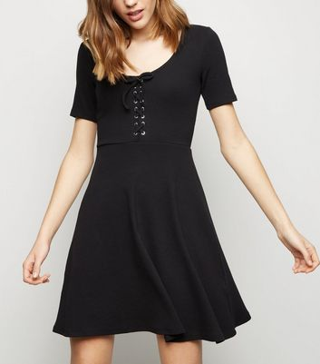 Black Lace Up Front Skater Dress