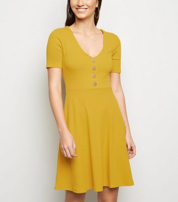 Mustard Button Front Jersey Skater Dress