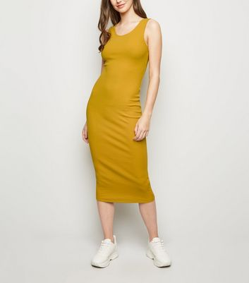 Mustard Ribbed Bodycon Midi Dress