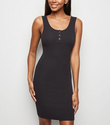 Black Ribbed Popper Front Bodycon Dress
