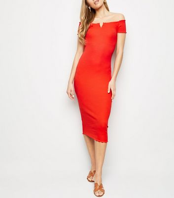 353d963493 ... Red Ribbed Bardot Notch Neck Midi Dress