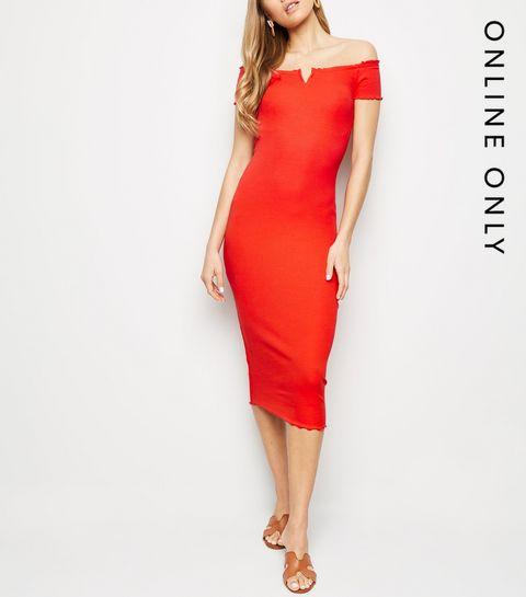 88822aab724 ... Red Ribbed Bardot Notch Neck Midi Dress ...