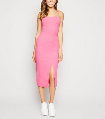 Bright Pink Ribbed Square Neck Midi Dress