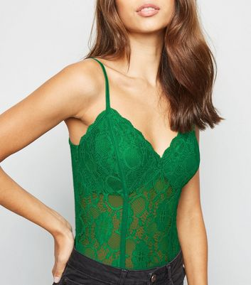 Green Sheer Lace Bodysuit