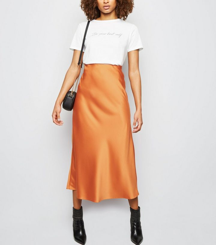 classic chic wide varieties first rate Tall Rust Satin Bias Cut Midi Skirt Add to Saved Items Remove from Saved  Items