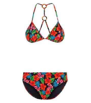 Girls Black Tropical Print Ring Bikini Set