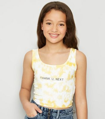 Girls Yellow Tie Dye Slogan Crop Top
