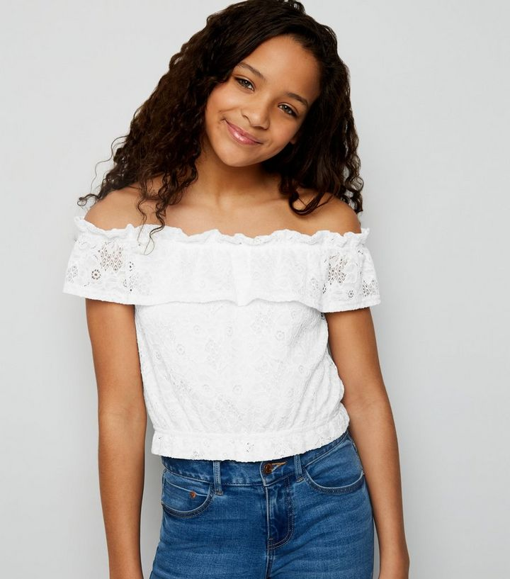 234f4758d3a325 Girls White Lace Frill Bardot Top