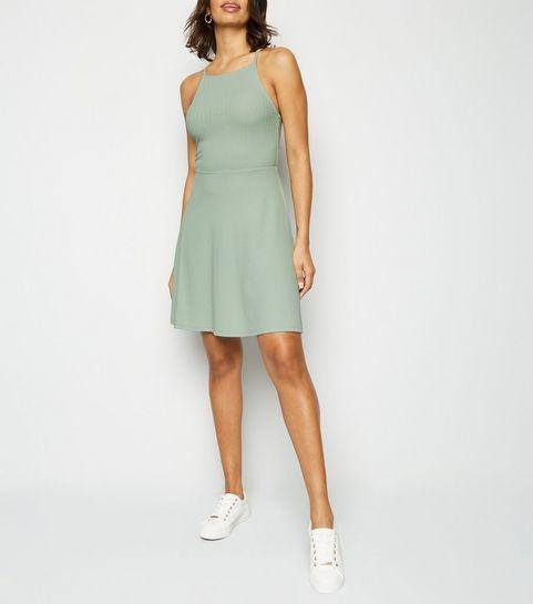 c504d89f90bf ... Light Green Waffle Jersey Skater Dress ...