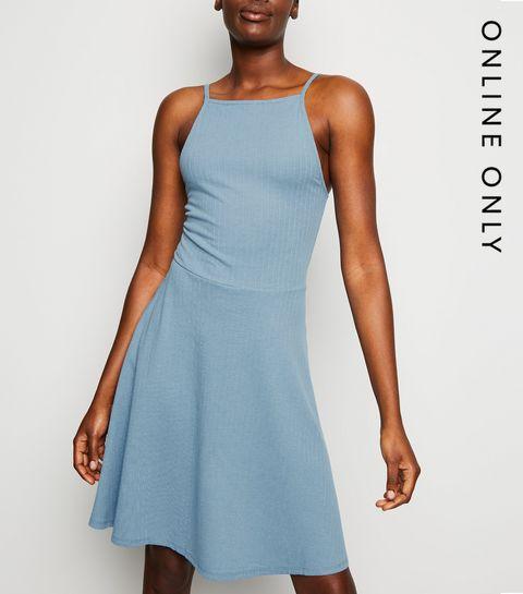 9bccf390904 ... Blue Waffle Jersey Skater Dress ...
