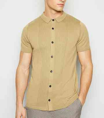 Camel Knit Button Up Shirt