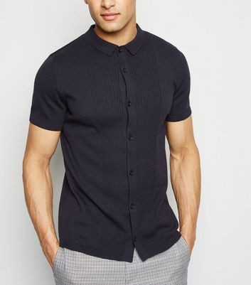 Navy Knit Button Up Shirt